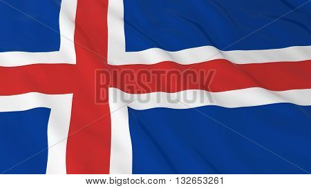 Icelandic Flag HD Background - Flag of Iceland 3D Illustration