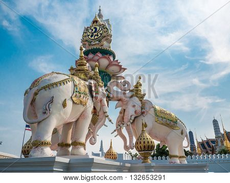 Elephants statue lift lotus to praise King of Thailand, Grand palace landmark in Thailand
