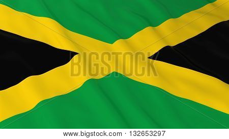 Jamaican Flag HD Background - Flag of Jamaica 3D Illustration