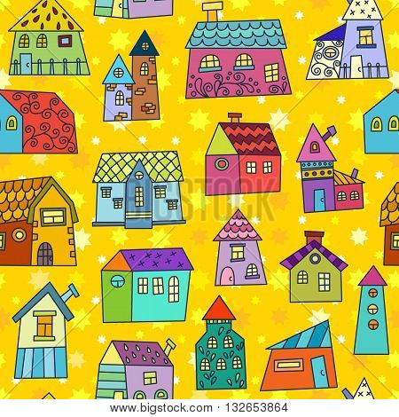 Doodle Hand Drawn Town Seamless Pattern.