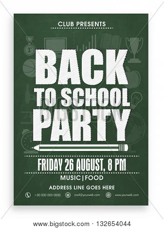Back to School Party Template, Banner, Flyer or Invitation Card design with various educational equipments on green background.