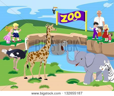 Happy kids at the zoo land. Vector illustration