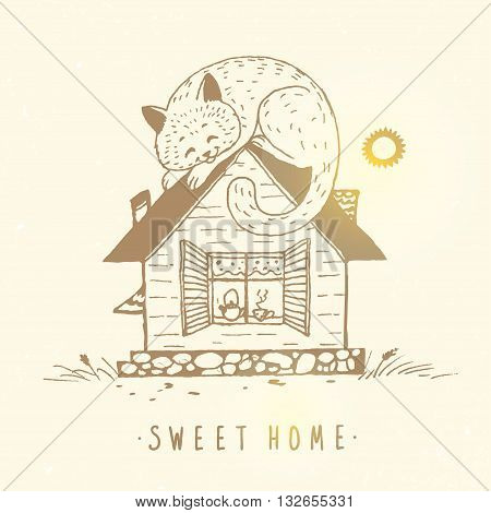 Illustration of a beautiful house with a cat sleeping on a rooftop. Hand drawn sketch. Stylish vector illustration