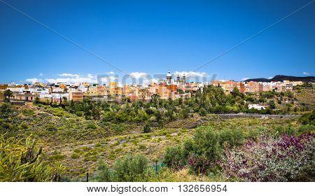 Cityscape of Aguimes with landmark of Parish Church of San Sebastian. Aguimes, Gran Canaria,  Spain.