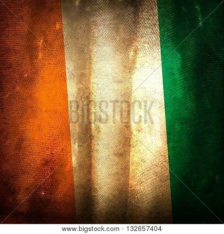 The old vintage grunge flag of Ivoire