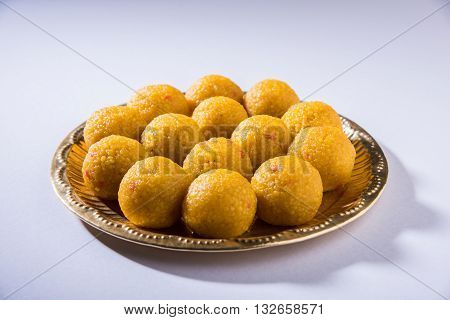indian sweets bundi laddu or motichur laddu or motichoor laddu, selective focus