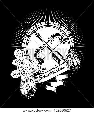 vector illustration Sagittarius horoscope frame in vintage black and white