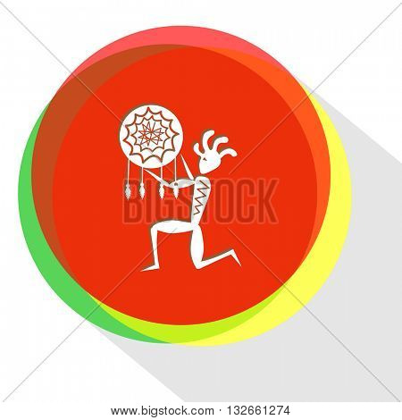 ethnic little man as shaman. Internet template. Vector icon.