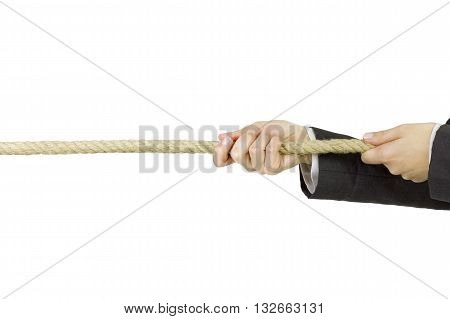 Business tug of war, over a white background.