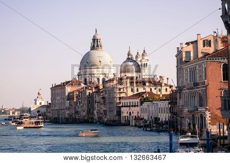 The Grand Canal of Venice in vintage style with Basilica of Santa Maria della Salute in the background Italy