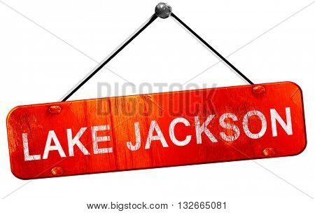 lake jackson, 3D rendering, a red hanging sign