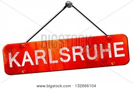Karlsruhe, 3D rendering, a red hanging sign