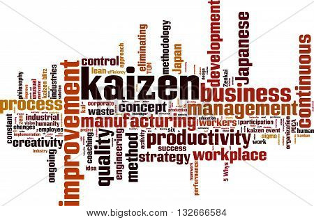 Kaizen word cloud concept. Vector illustration on white