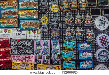Dubrovnik Croatia - August 26 2015. Souvenirs shop on the Old Town of Dubrovnik