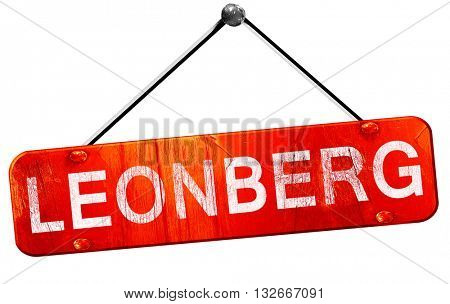 Leonberg, 3D rendering, a red hanging sign