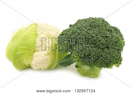 Fresh small cauliflower and broccoli  on a white background