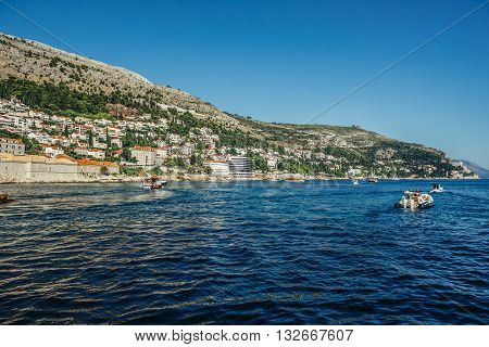 Dubrovnik Croatia - August 26 2015. View from The Old Town Harbour in Dubrovnik