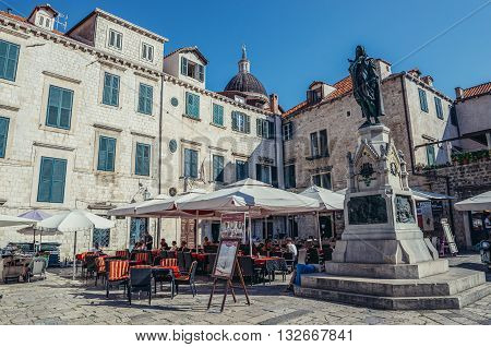 Dubrovnik Croatia - August 26 2015. Ivan Gundulic monument located on the Old Town of Dubrovnik
