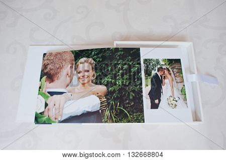 Dual Pages Of Wedding Photo Book With Wedding Couple