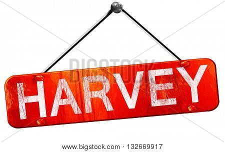 harvey, 3D rendering, a red hanging sign