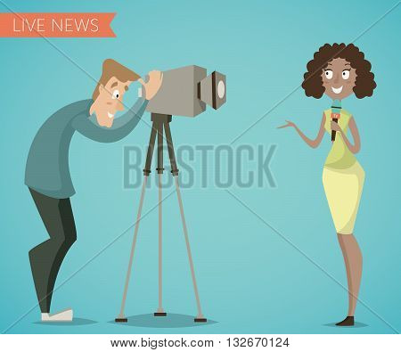 Woman reporter and camera man. Cartoon characters. Live news, reports, interviews concept. Vector illustration