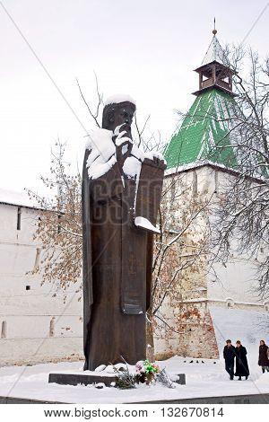 SERGIYEV POSAD RUSSIA - January 02.2010: Sculpture monk of Saint Sergius of Radonezh founder of monastery