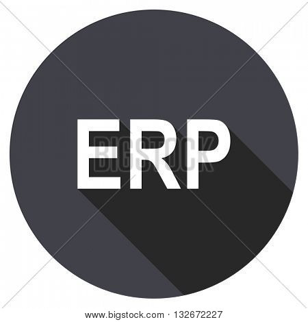 erp vector icon, circle flat design internet button, web and mobile app illustration