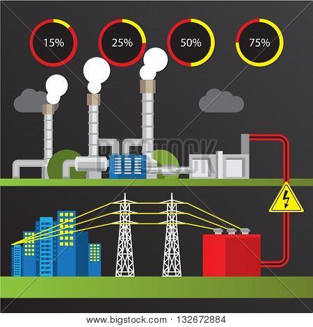 Geothermal power station Colorful illustration in a flat style. City infographics set. All types of power stations. System with turbine condenser separator and generator