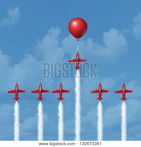 Winning business tools and successful strategy concept as a group of competitive jet airplanes racing up with one individual that is helped by a balloon as the winner as a 3D illustration.
