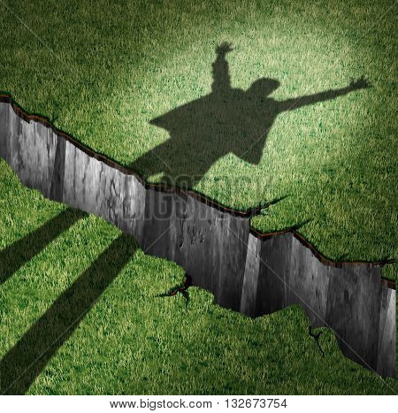 Overcome obstacle and concept of success power as a cast shadow of a cheering person leaping through a cliff opening as a metaphor for oversoming barriers and finding a way to victory with 3D illustration elements.