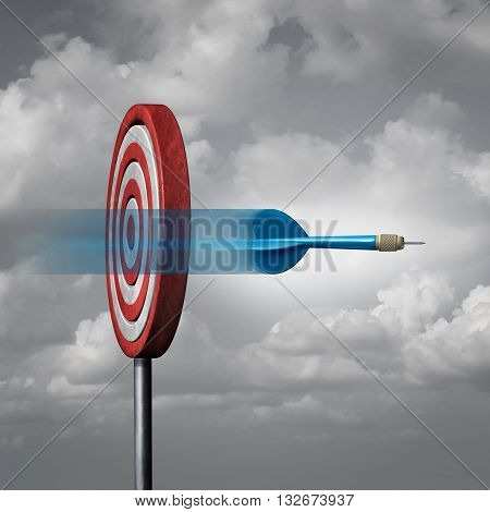 Missing the target concept as a dart way off the mark or bullseye as a metaphor for failure and failing to hit a goal with 3D illustration elements.