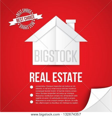 White paper house on red background. Concept for corporate identity or web banner. Minimalist style. Flip the page as bonus element.