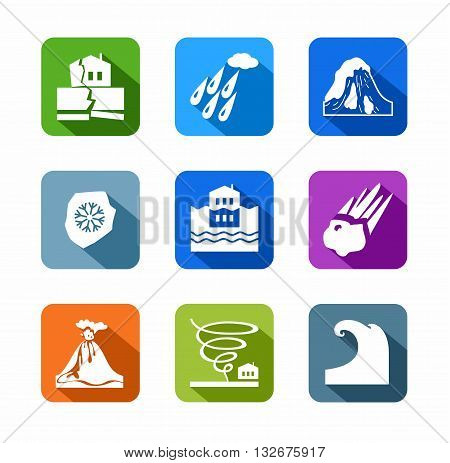 Vector icons of natural disasters and cataclysms. White image on a colored background with a shadow.