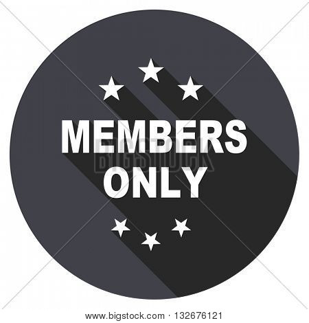 members only vector icon, circle flat design internet button, web and mobile app illustration
