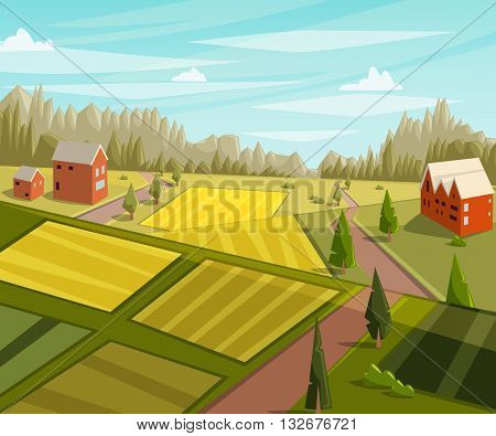 Farm fresh. Rural landscape with farmhouse, fields and trees. Cartoon vector illustration