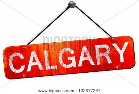 Calgary, 3D rendering, a red hanging sign