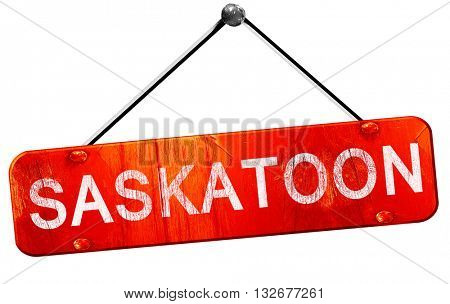 Saskatoon, 3D rendering, a red hanging sign