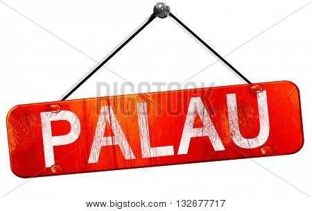 Palau, 3D rendering, a red hanging sign