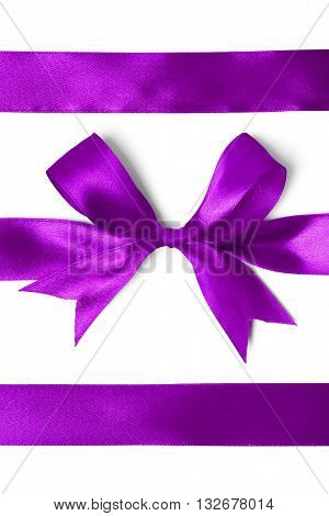 Close Up Of  A Silk Ribbon Knot On White Background