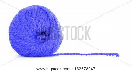 Roll of yarn tangled twine isolated on white background