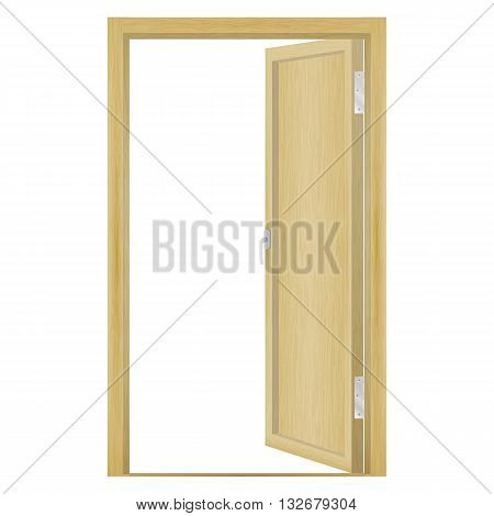Vector illustration of an open wood door isolated on a white background.