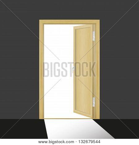Vector illustration of a wooden open door in a dark room.
