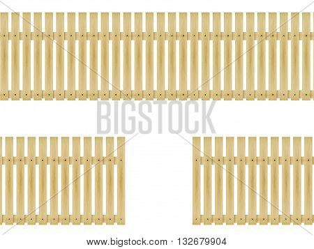 Vector illustration wooden fence isolated on white background.
