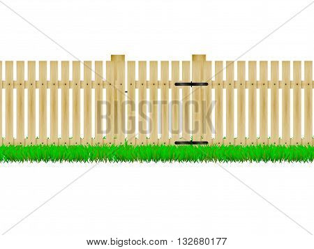 Vector illustration of a wooden fence with the door on the green grass. On an isolated white background.
