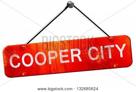 cooper city, 3D rendering, a red hanging sign