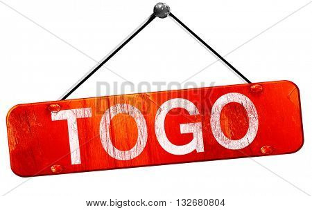 Togo, 3D rendering, a red hanging sign