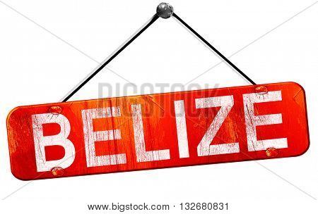 Belize, 3D rendering, a red hanging sign