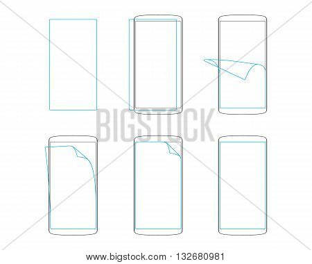 apply screen protector smartphones and tables outline vector illustration EPS
