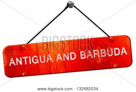 Antigua and barbuda, 3D rendering, a red hanging sign