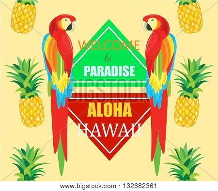 Seamless Pattern with Parrot and Pineapple Vector geometric illustration. Tropical Summer Poster. Aloha Hawaii